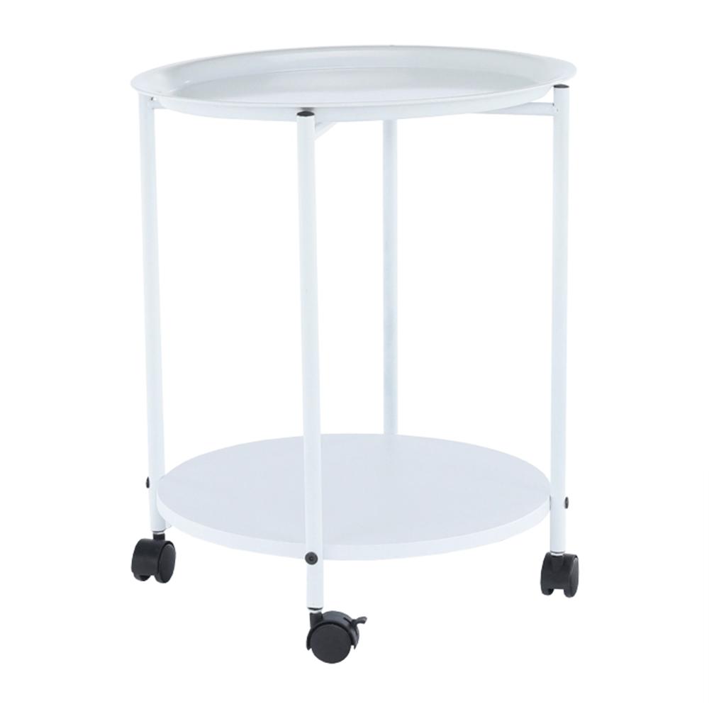 Príručný stolík s kolieskami, biela, DERIN