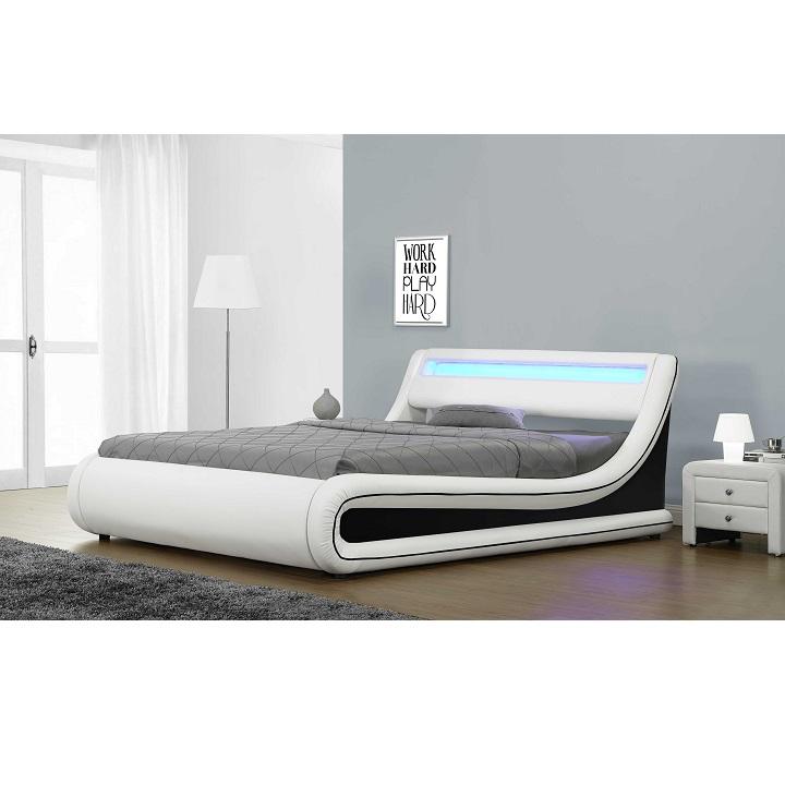 Manželská posteľ s RGB LED osvetlením, biela/čierna, 180x200, MANILA