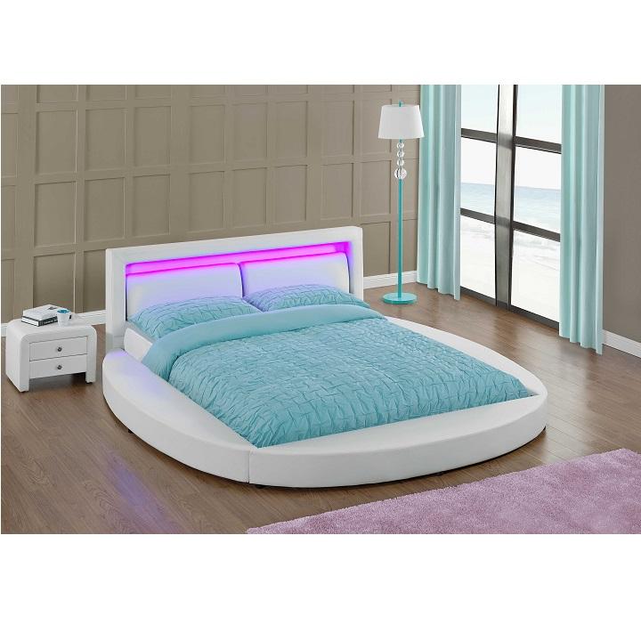 Ultramodern ágy RGB LED világítással, fehér, 180x200, BLESS