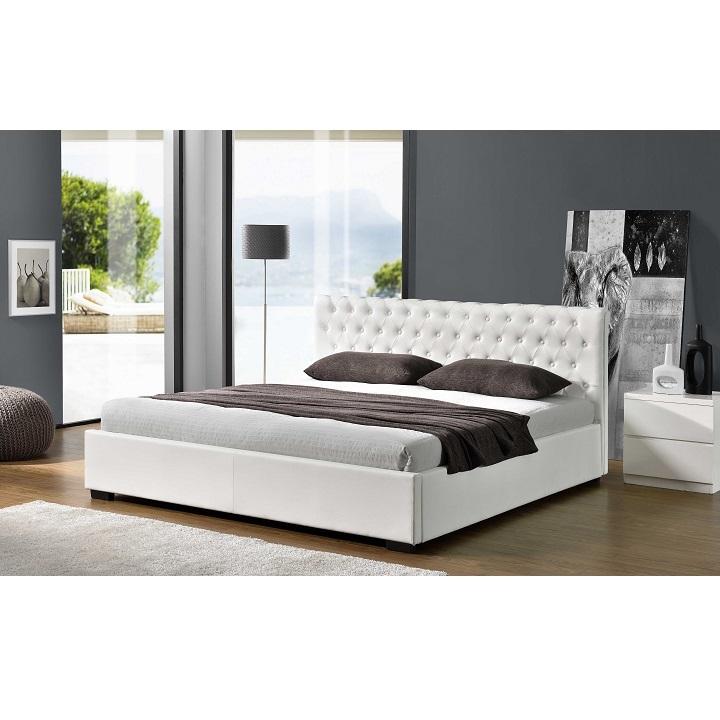 Ágy ágyneműtartóval, fehér, 180x200, DORLEN