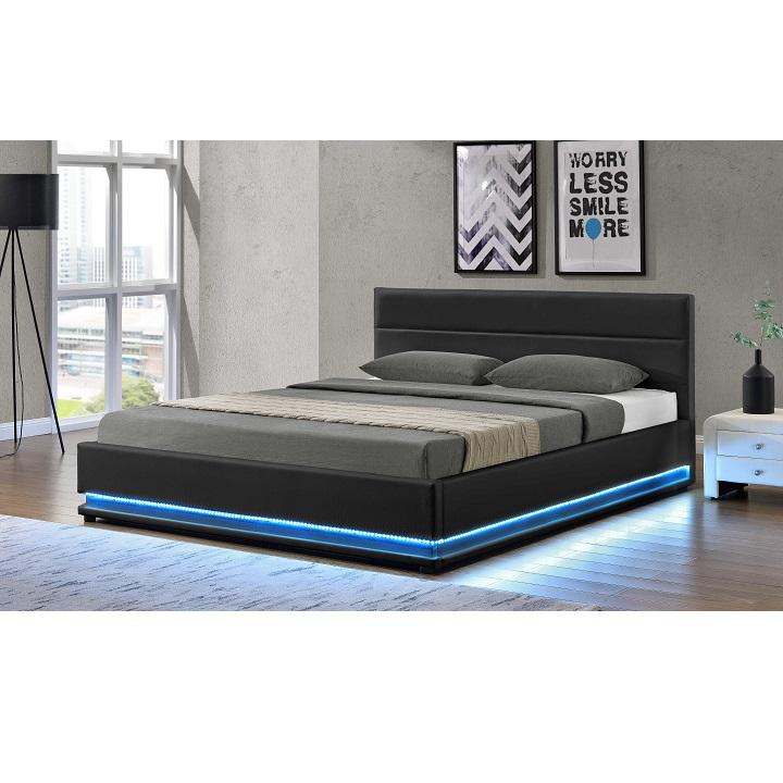 TEMPO KONDELA Manželská posteľ s bielým osvetlením, čierna, 160x200, BIRGET