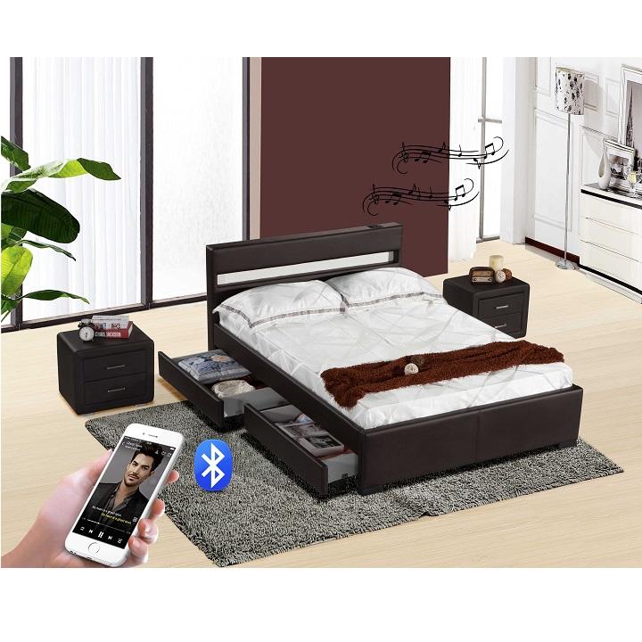 Luxus modern ágy RGB LED világítással, BLEUTOOTH hangszóróval , fekete textilbőr, FABALA