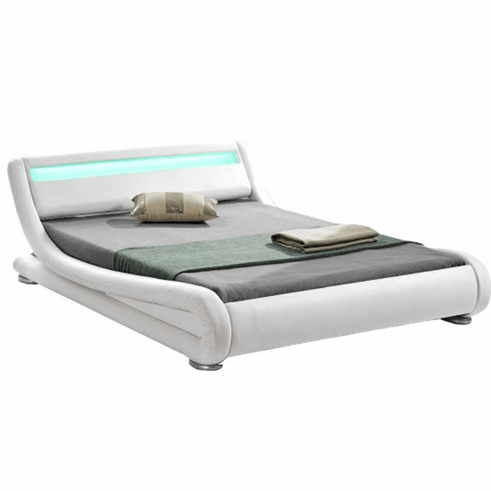 Moderná posteľ s RGB LED osvetlením, biela, 180x200, FILIDA