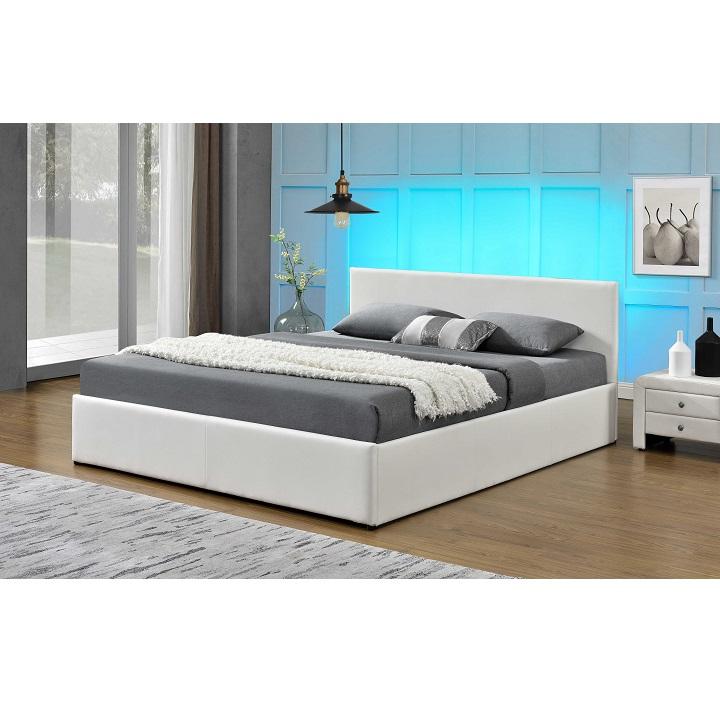 Manželská posteľ s RGB LED osvetlením, biela, 180x200, JADA
