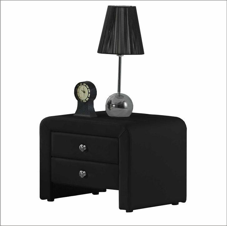 Nočný stolík, ekokoža, čierna, WILSON