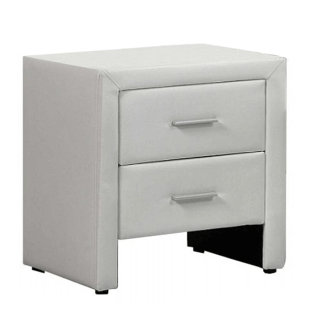 Noční stolek, ekokůže, bílá, CASTEL, TEMPO KONDELA