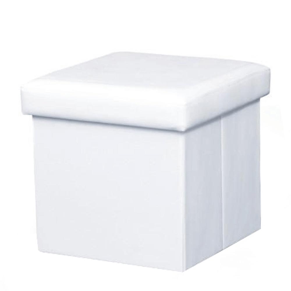 Skladací taburet, ekokoža biela, TELA NEW