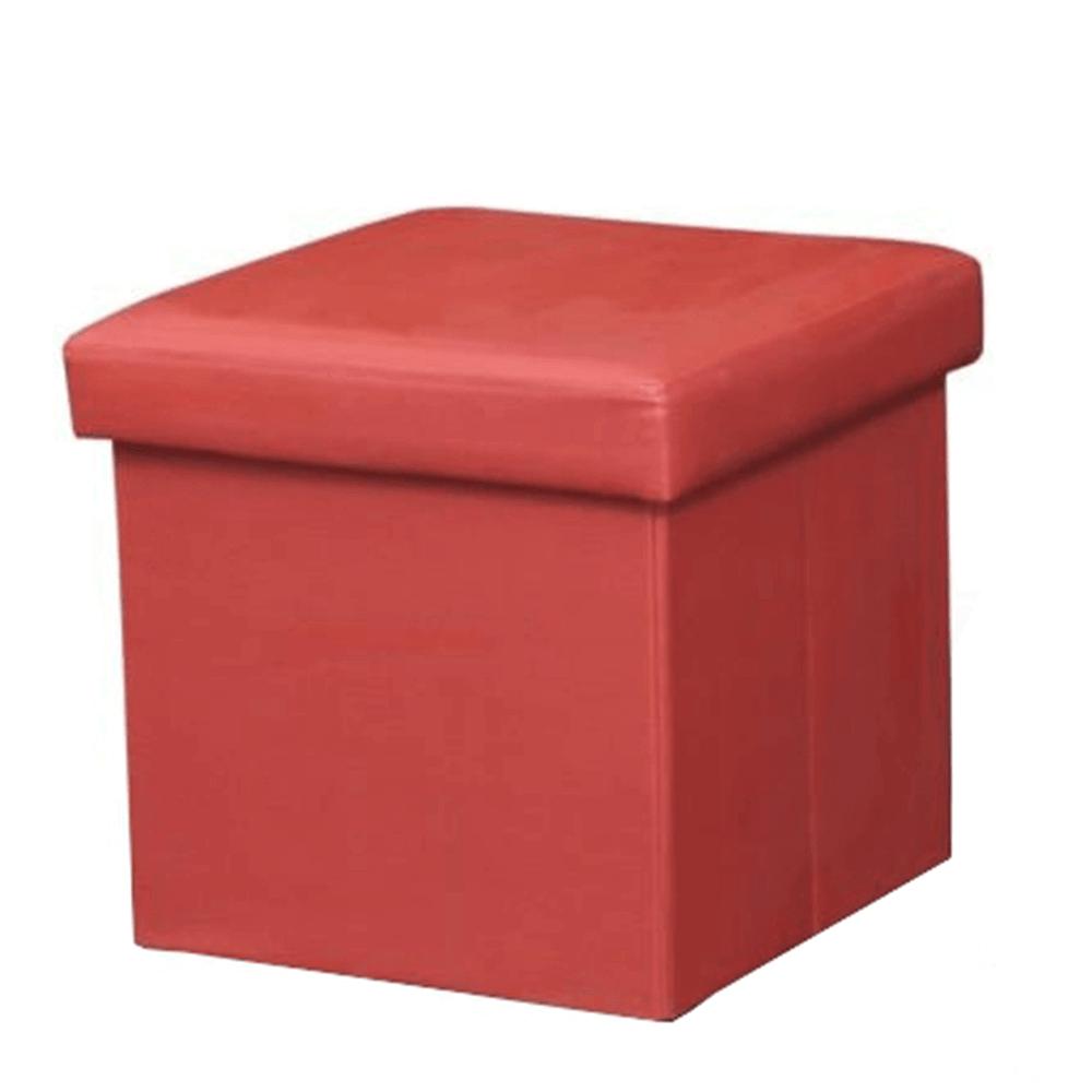 Skladací taburet, ekokoža červená, TELA NEW