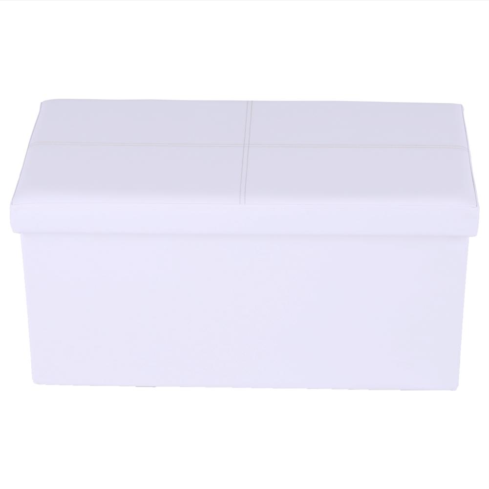Skladací taburet, biela ekokoža, IMRA