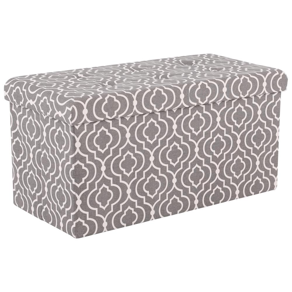 Skladací taburet,  siva látka/biely vzor, FARGO
