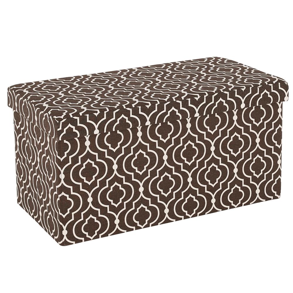 Skladací taburet, hnedá látka/biely vzor, FARGO