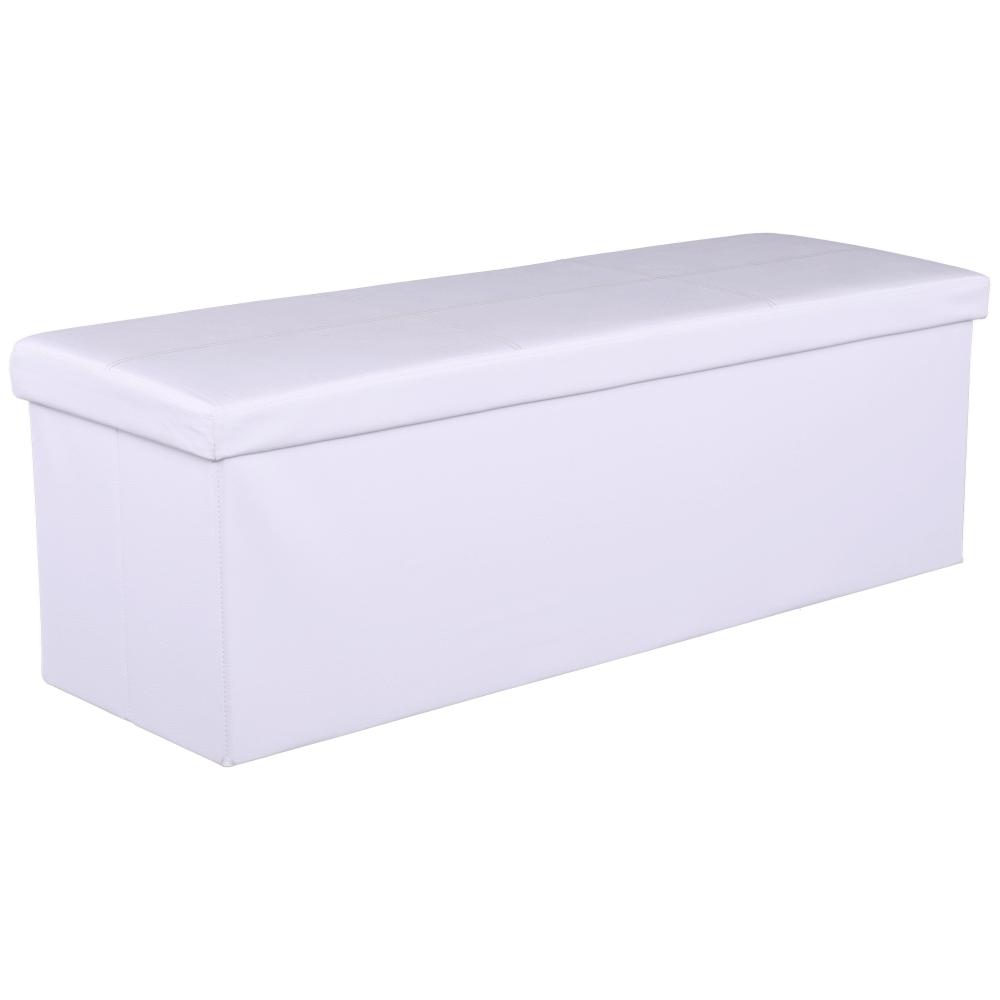 Skladací taburet, biela ekokoža, ZAMIRA