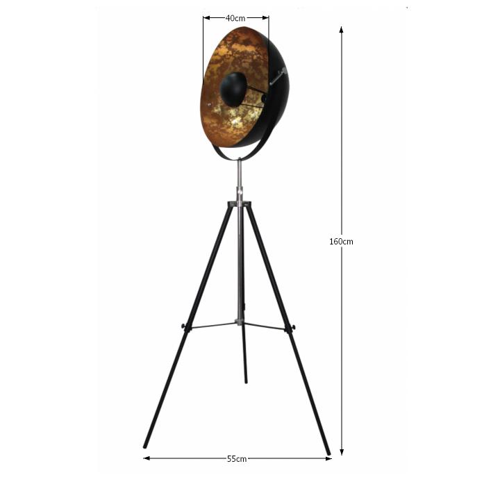 Állólámpa, fekete/arany, JADE TYP 6 8008-18A