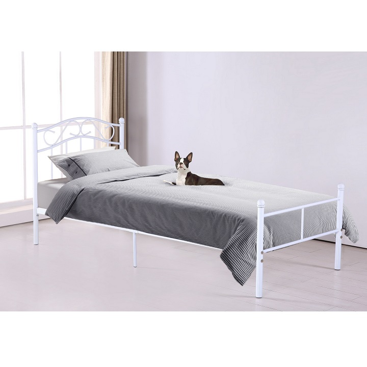 Fehér fém ágy RADANA 90x200