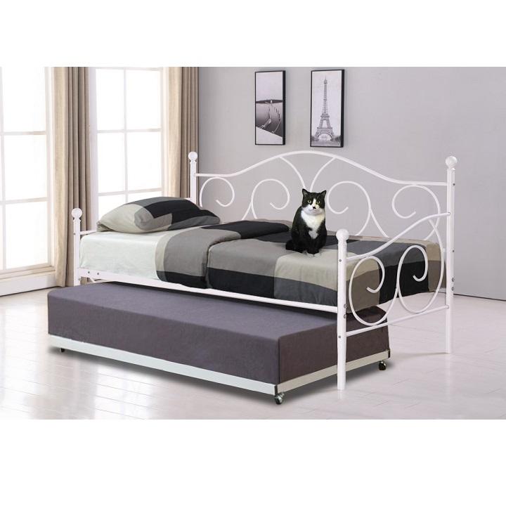 Fehér fém ágy SAINA  pótággyal 90x200