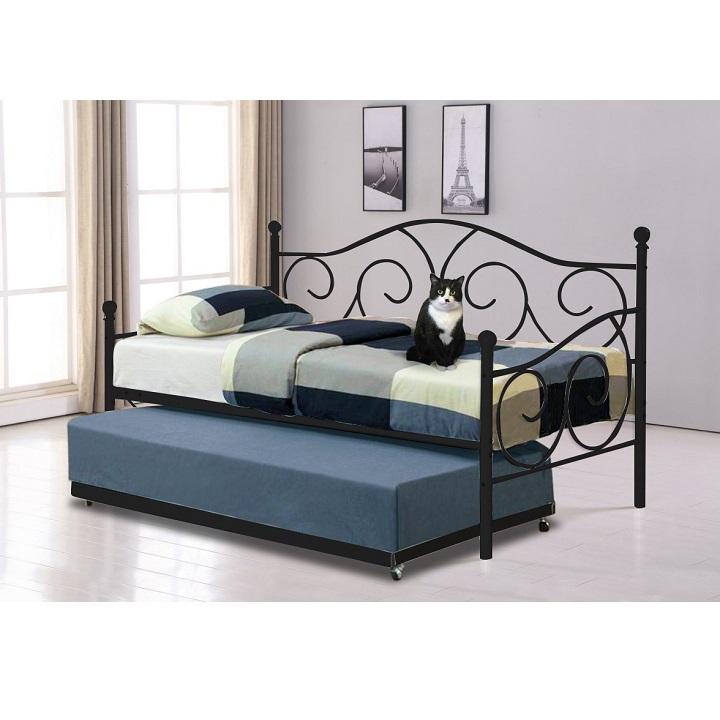 Fekete fém ágy SAINA  pótággyal