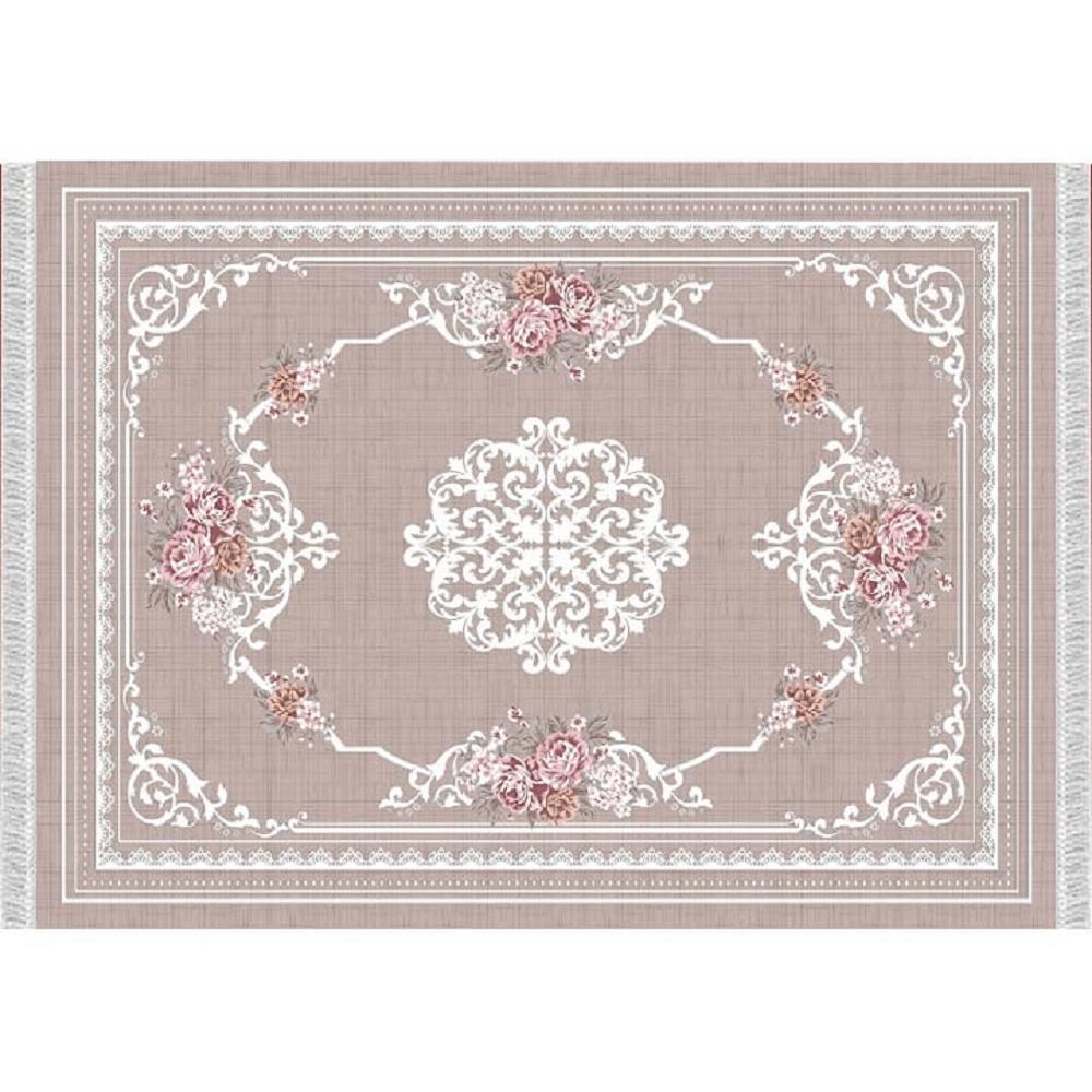 Koberec, svetlohnedý/vzor kvety, 80x150, SEDEF