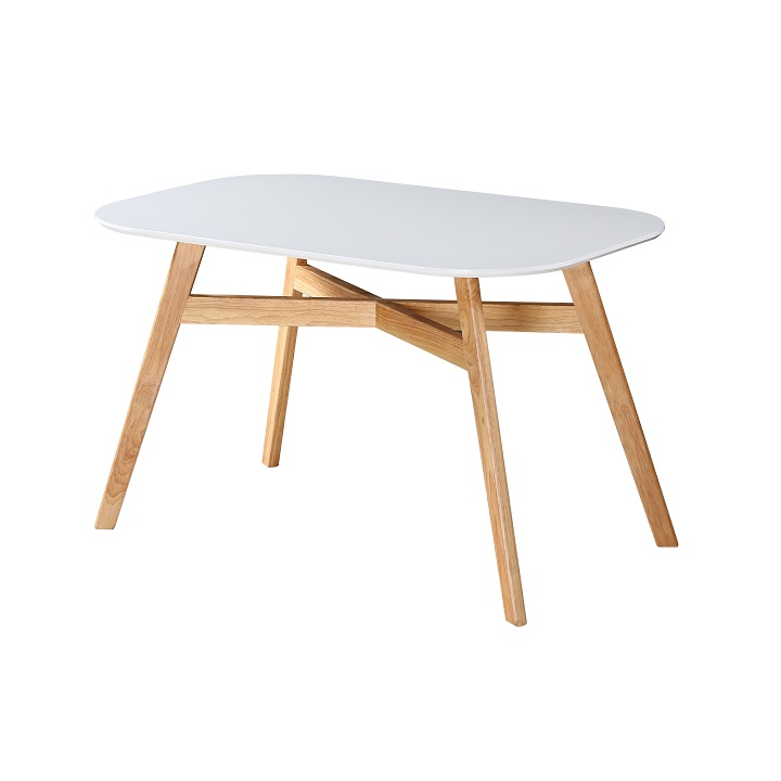 Tempo Kondela Jedálenský stôl, biela/prírodná, CYRUS NEW