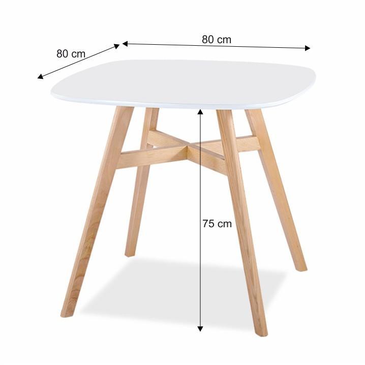 Jedálenský stôl, MDF/masívne drevo, biela/prírodná, DEJAN NEW