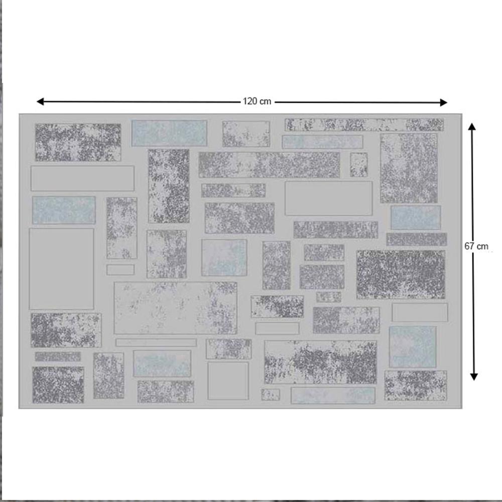 HEATHER Szőnyeg 67X120, világosszürke / sötétszürke / kék