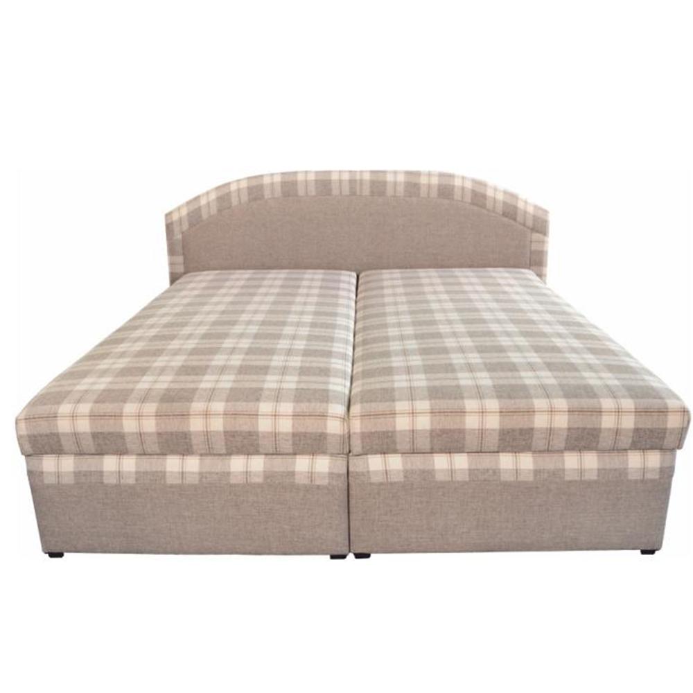 Dupla ágy, bézs/kockás minta, 180x200, LUCIA