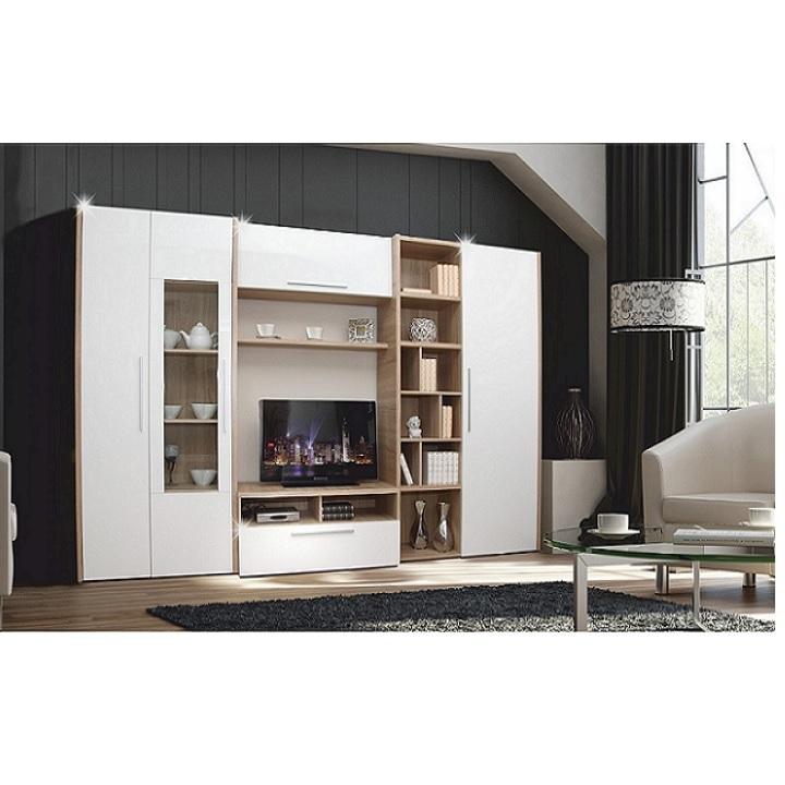 Obývacia stena, dub sonoma/biela s extra vysokým leskom, AKONA