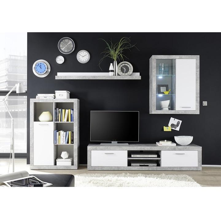 Obývacia stena, biela/betón, KLARK