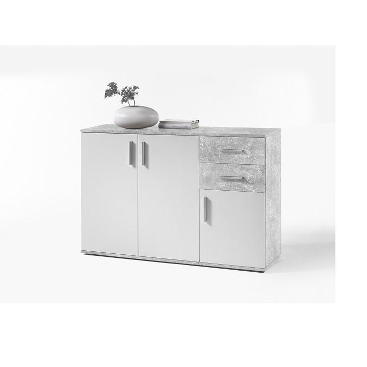 POPPY 2 komód, fehér / beton színű