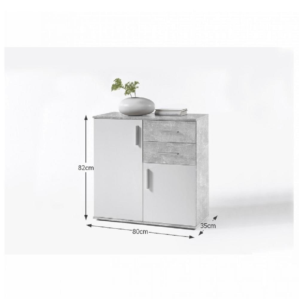 POPPY 4 komód, fehér / beton színben