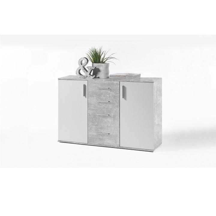 POPPY 5 komód, fehér / beton színben