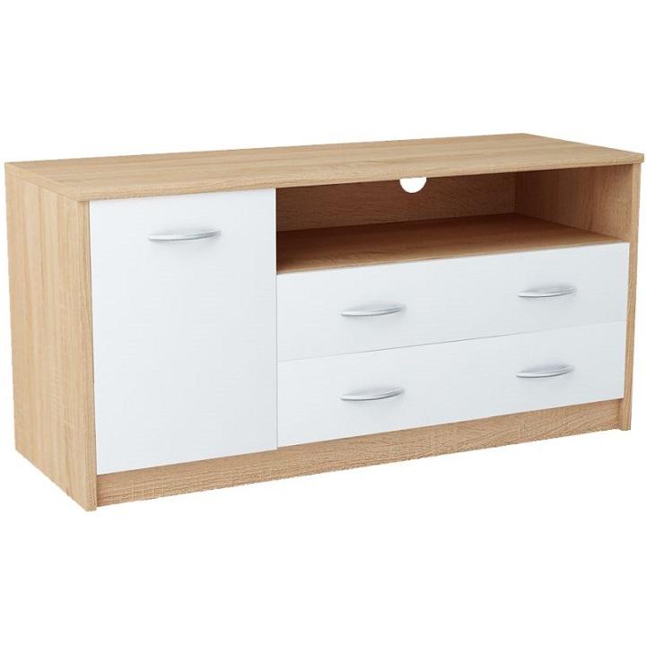 RTV asztal, fehér/ sonoma tölgyfa, MARKER 029 TYP2