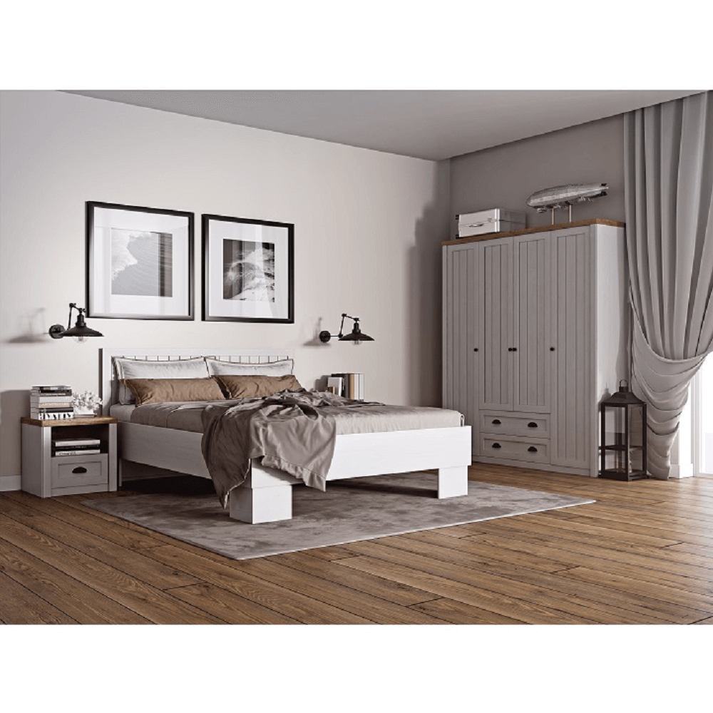 PROVANCE L1 ágy, fenyő ANDERSEN / tölgyfa, 160x200