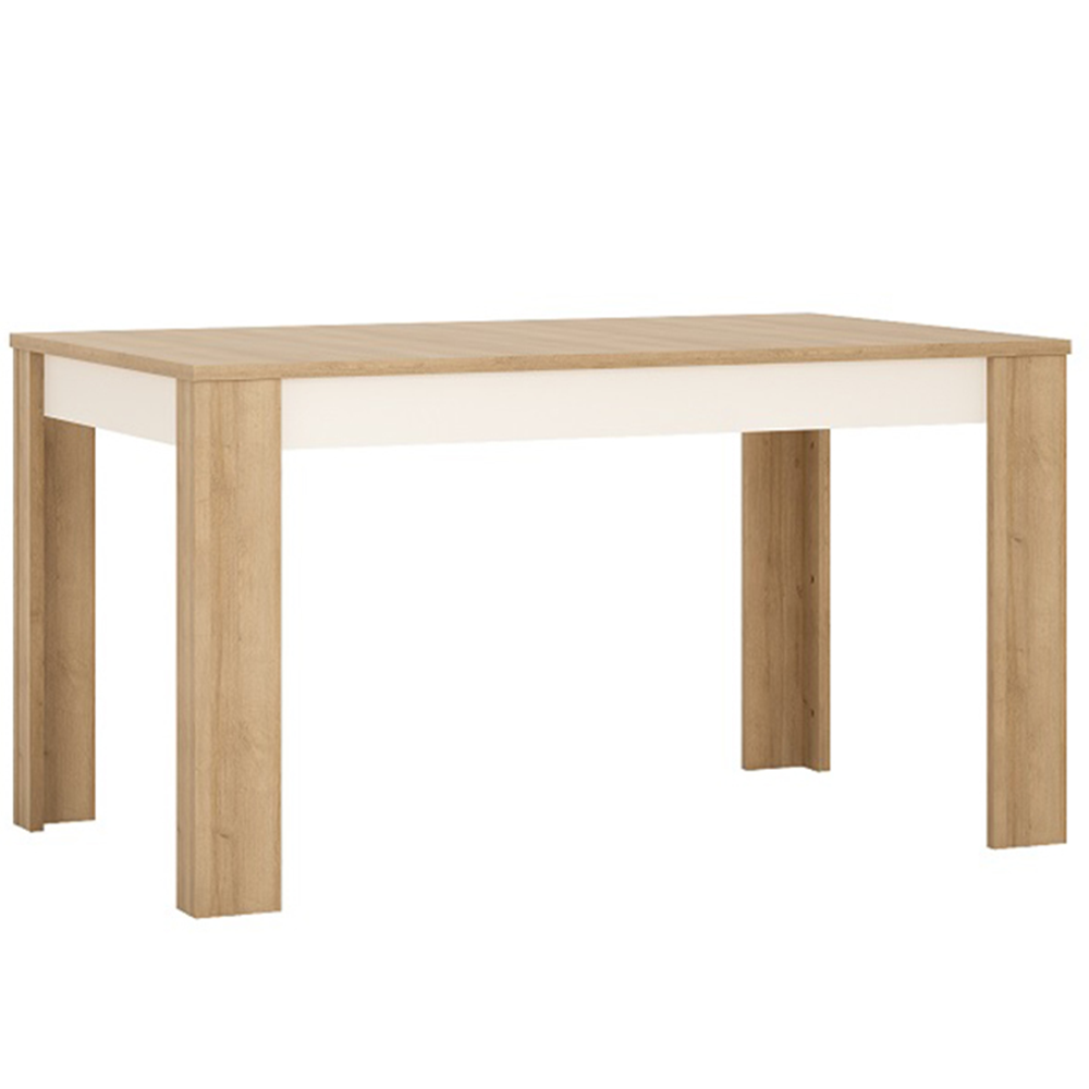 Jídelní stůl LYOT03, rozkládací, dub riviera / bílá, LEONARDO, TEMPO KONDELA
