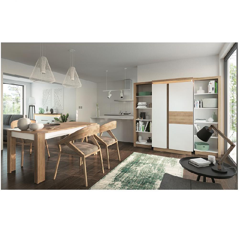 Étkezőasztal LYOT03, nyitható, tölgy riviera/fehér, LEONARDO