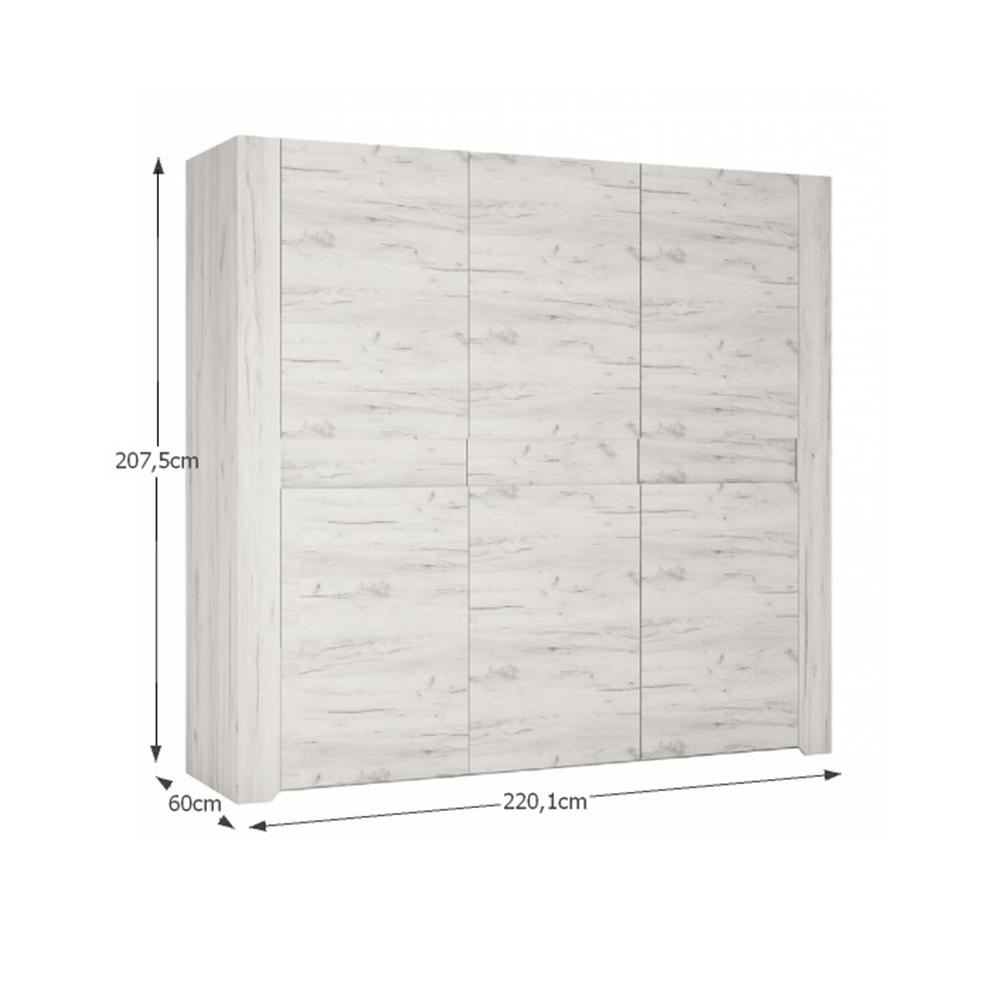 Szekrény 20 típus, 2D - 2S, fehér/craft, ANGEL