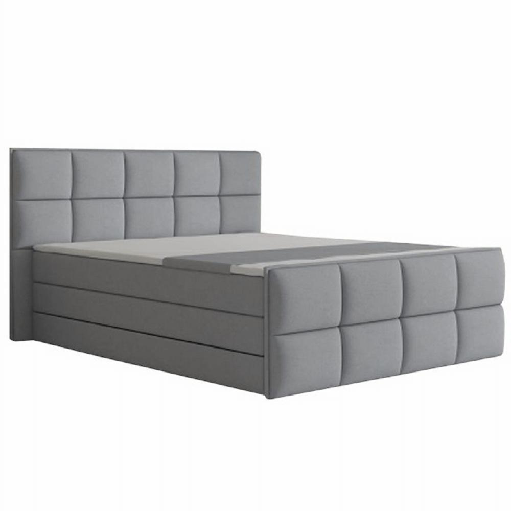 Pat confortabil 180x200 cm, material textil gri, RAVENA MEGAKOMFORT VISCO