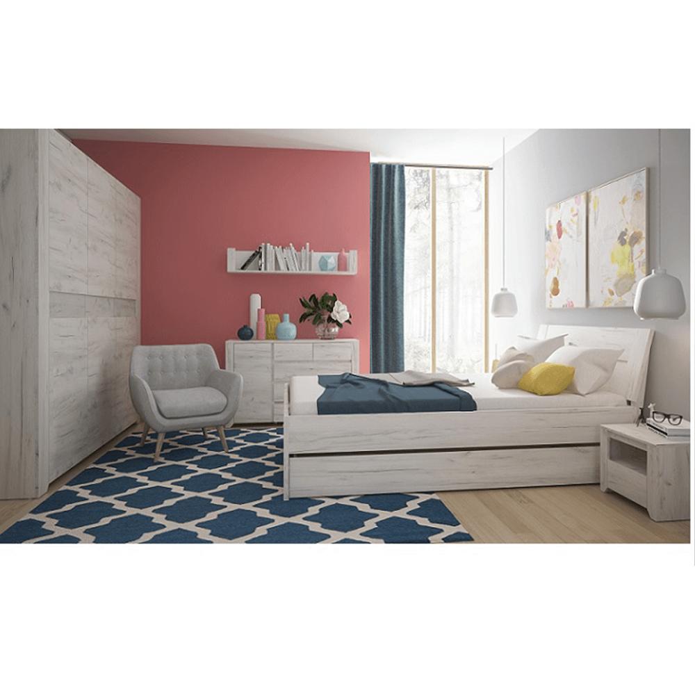 Ansamblu dormitor (dulap, pat 160x200, 2 x noptieră), alb, ANGEL