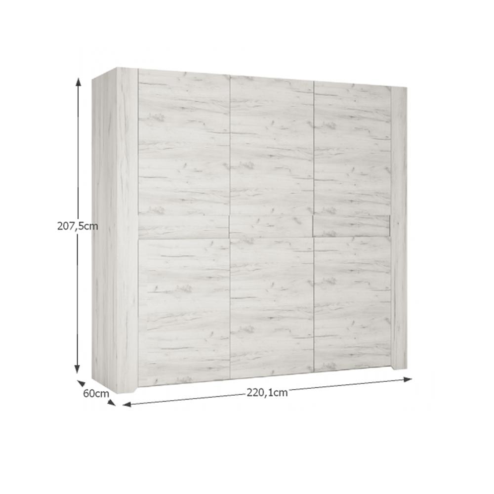 Ložnicová sestava, skříň, postel 160x200, 2x noční stolek, bílá craft, ANGEL