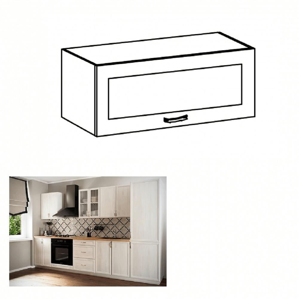 Horní skříňka G80KS se sklem, bíla/sosna Andersen, SICILIA