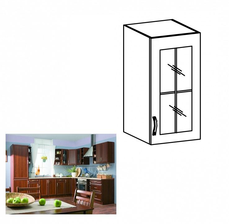 Felső szekrény üveggel, jobbos, diófa Milano, SICILIA G40S