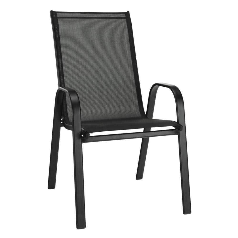 Stohovateľná stolička, tmavosivá/čierna, ALDERA