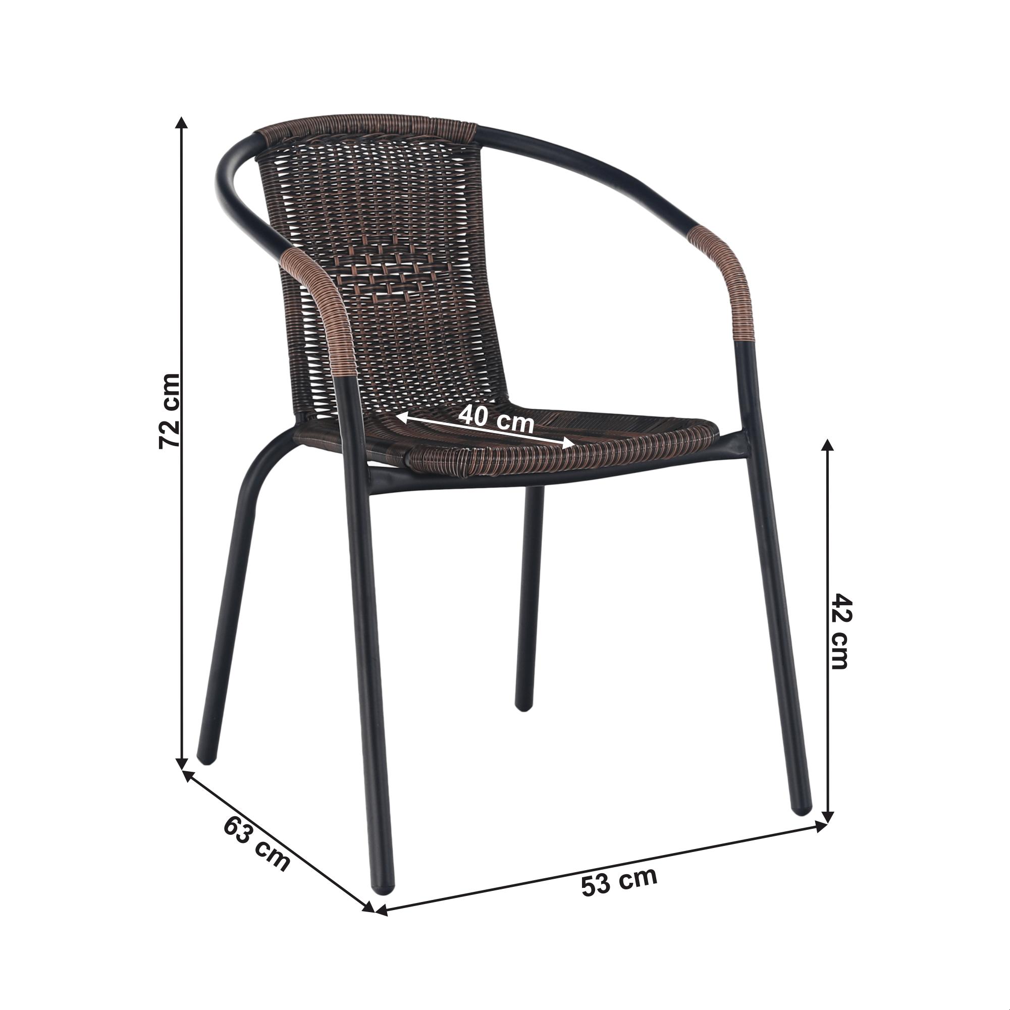 Egymásba rakható szék, barna/fekete fém, DOREN