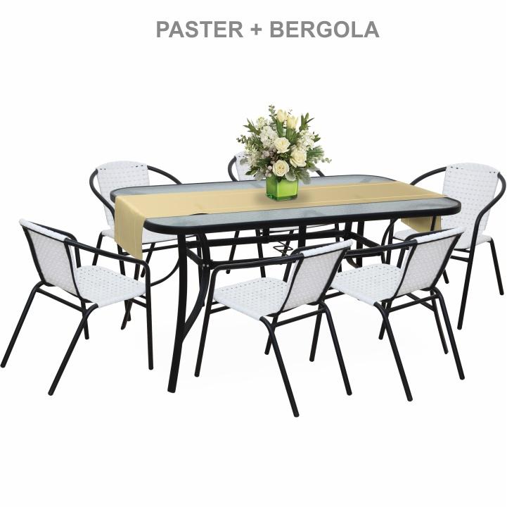 Záhradní židle, stohovatelná, bílá / černá, BERGOLA
