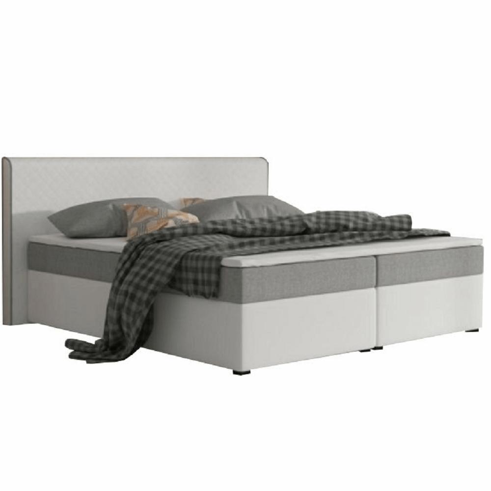 Pat dublu confortabil 160x200 cm tip ECOSPRING, piele ecologică albă/material textil gri, NOVARA KOMFORT