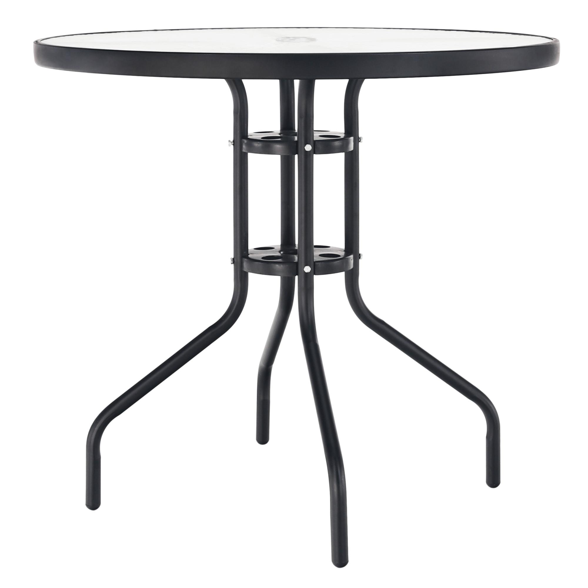 Jedálenský stôl, čierna oceľ/tvrdené sklo, BORGEN TYP 2