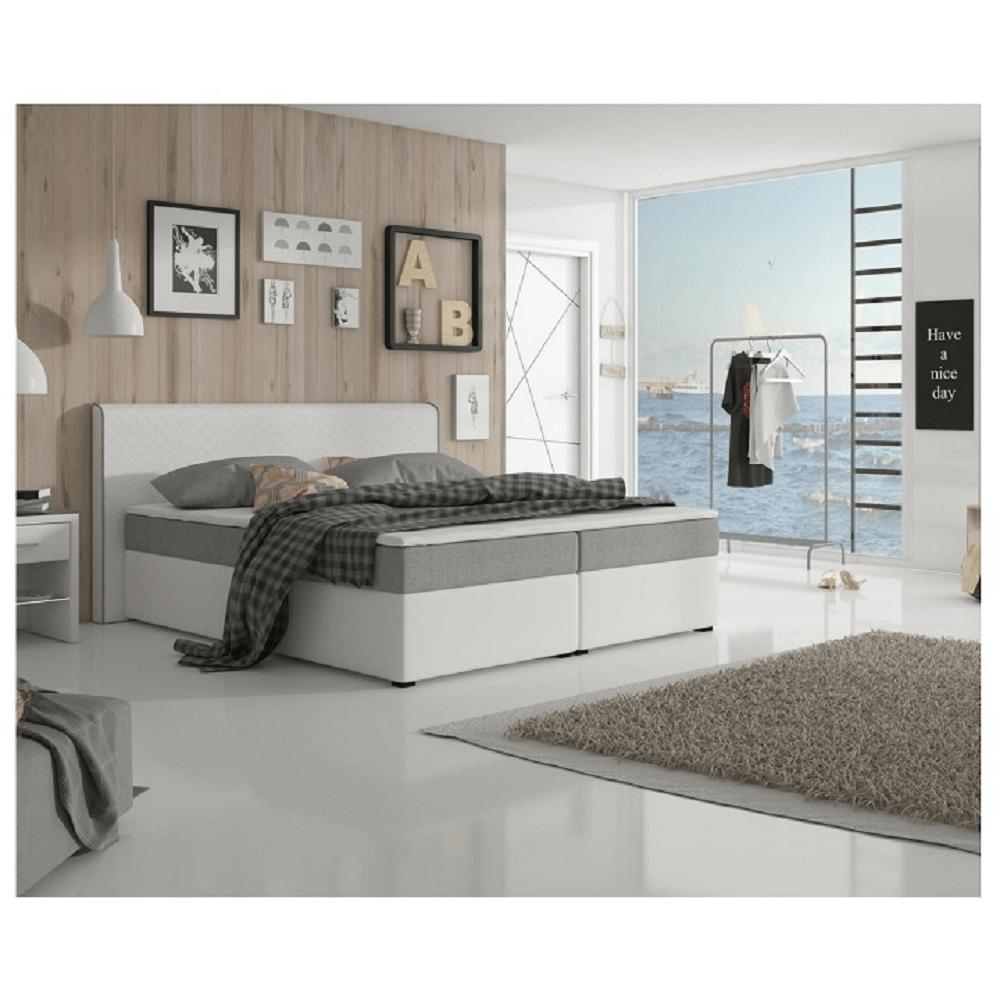 Kényelmes franciaágy, szürke szövet / fehér textilbőr, 160 x 200, NOVARA MEGAKOMFORT VISCO
