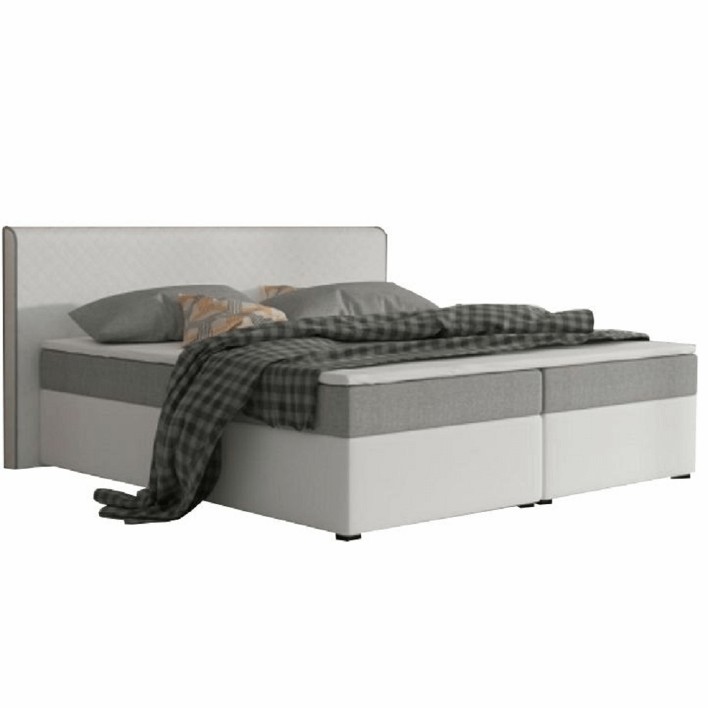 Pat dublu confortabil 180x200 cm tip ECOSPRING, piele ecologică albă/material textil gri, NOVARA KOMFORT