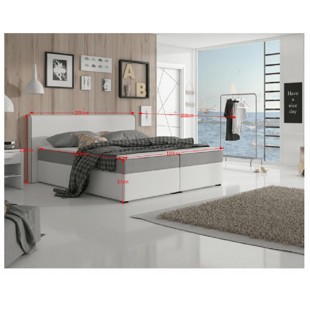 Kényelmes ágy, szürke szövet / fehér textilbőr, 180x200, NOVARA  MEGAKOMFORT VISCO