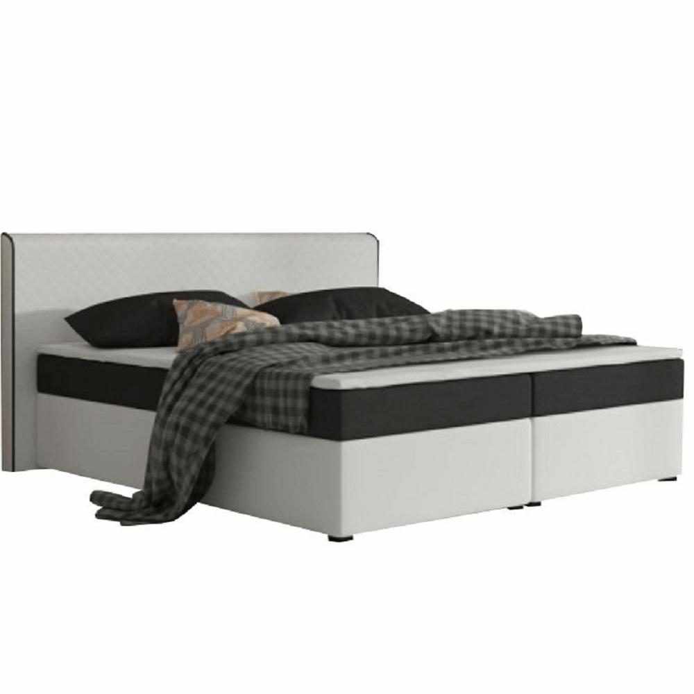 Pat dublu confortabil 180x200 cm tip ECOSPRING, piele ecologică alb/material textil negru, NOVARA KOMFORT