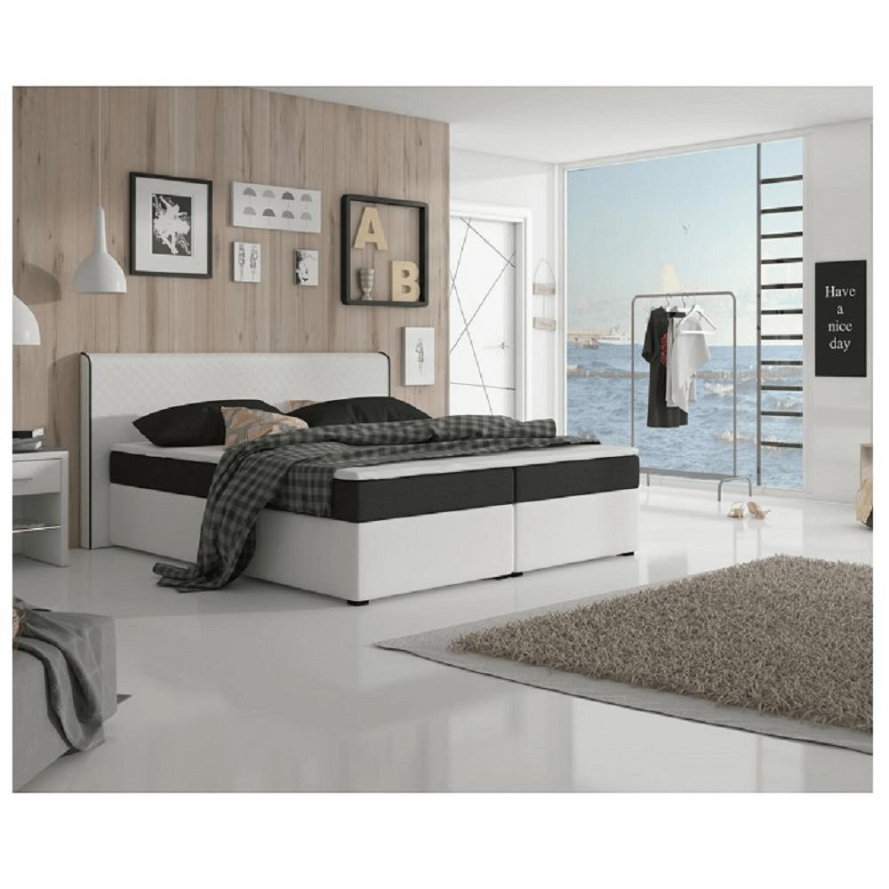 Kényelmes ágy, fekete szövet / fehér textilbőr, NOVARA MEGAKOMFORT VISCO